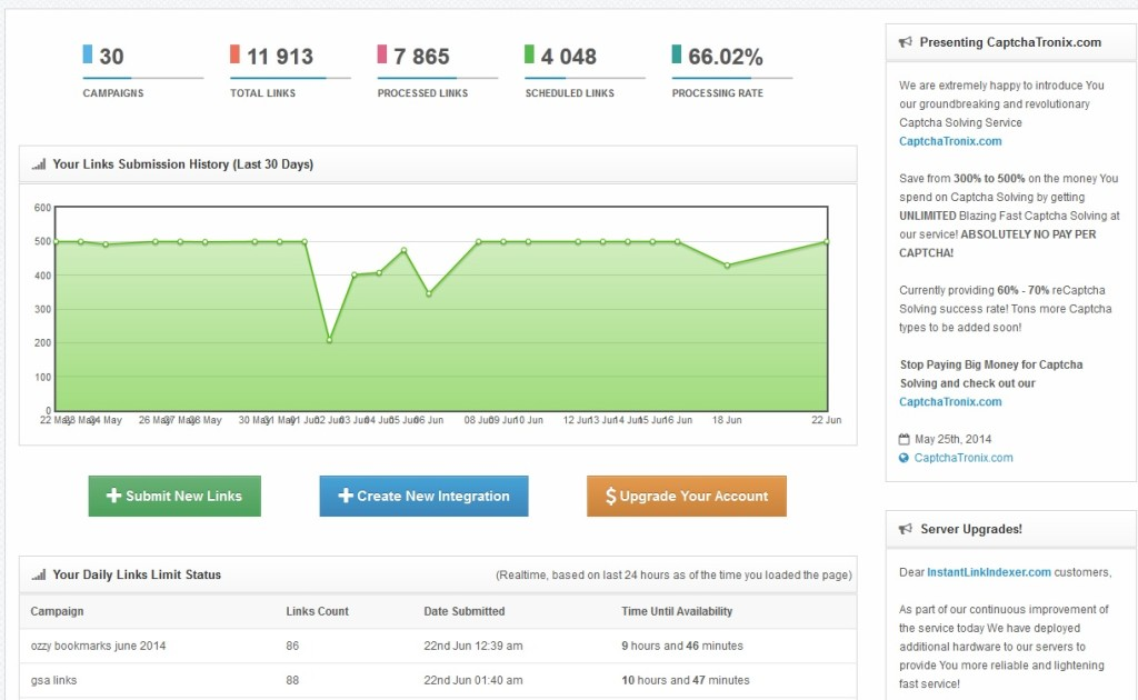 Instant Link indexer Dashboard