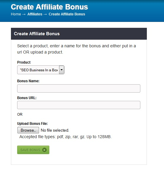Creating a affiliate bonus at JVZoo