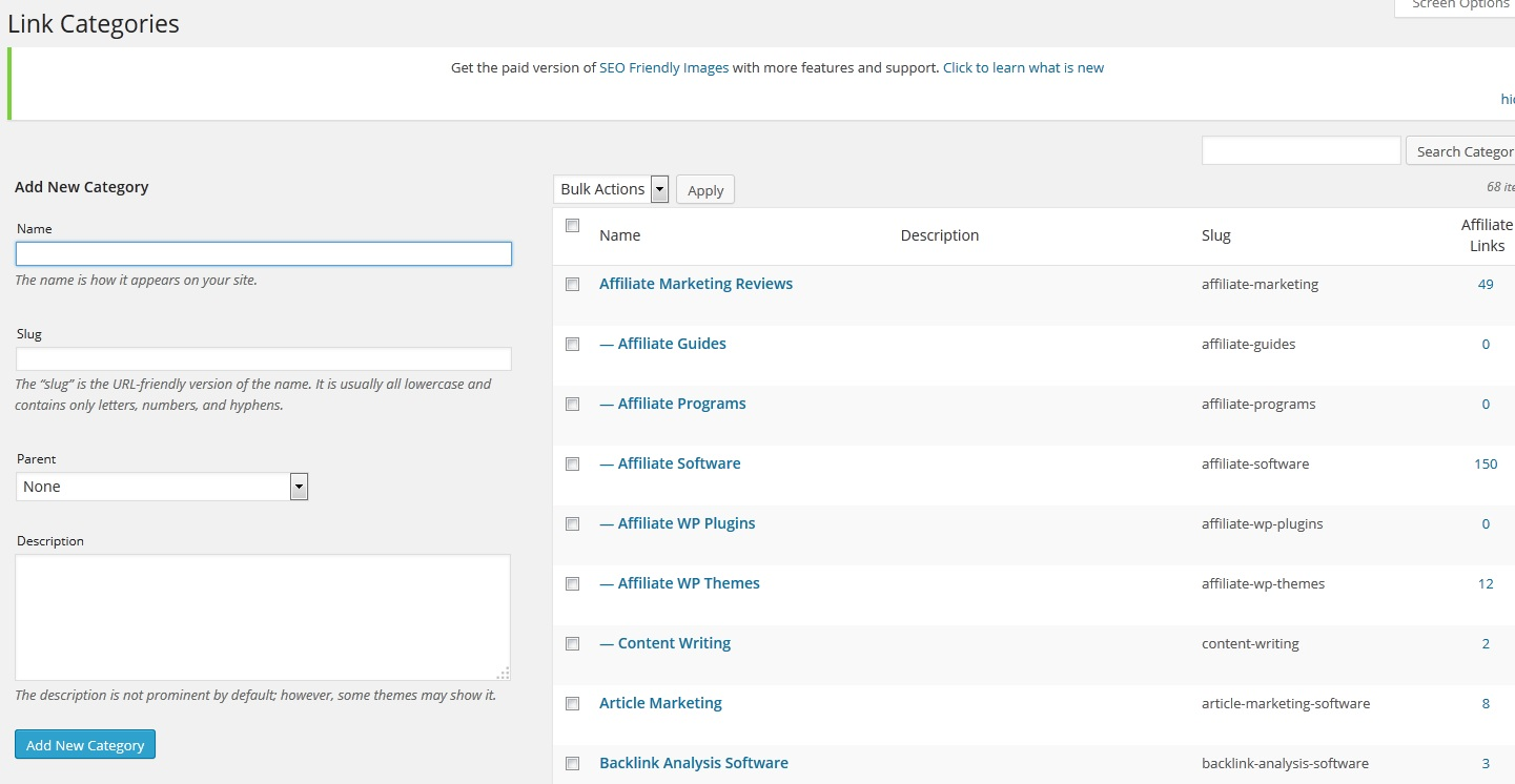 ThirstyAffiliates Review - Manage your affiliate link categories