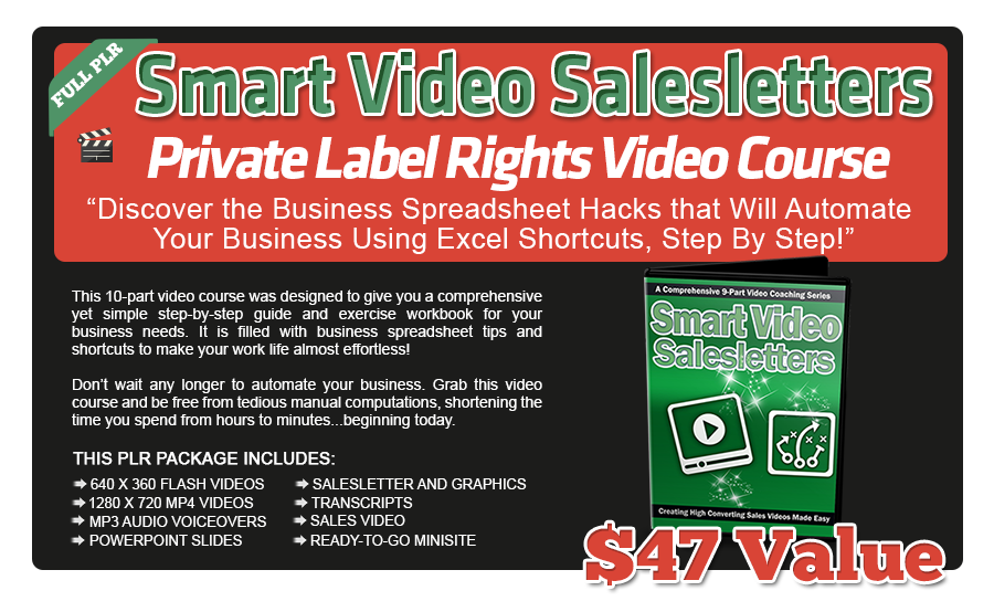 Smart Video Salesletters PLR Videos