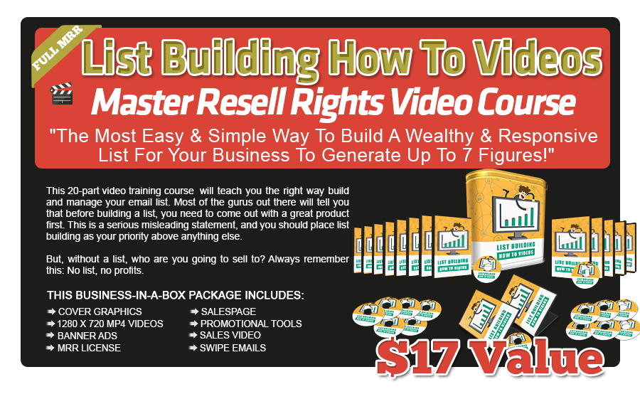 List Building Videos with Master Resell Rights