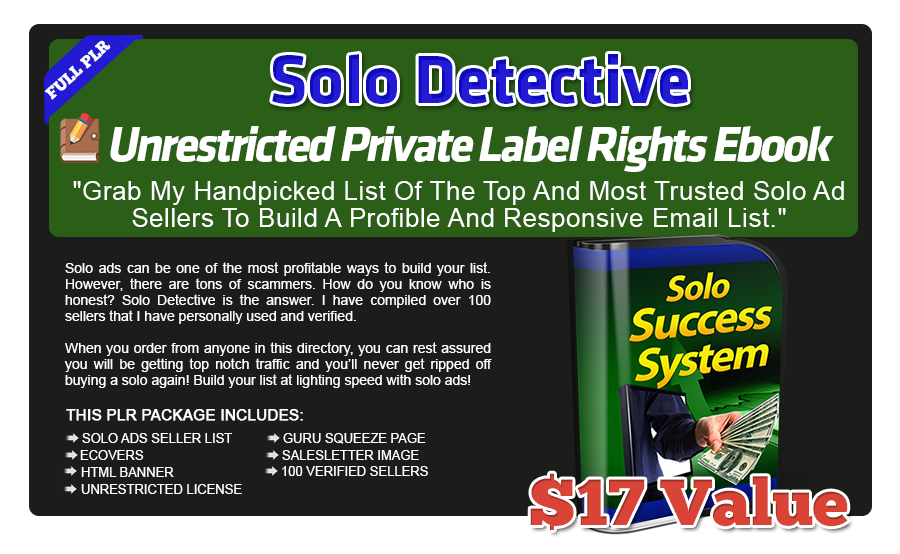 Solo Detective Unrestricted PLR eBook