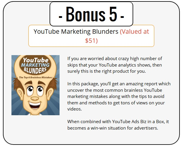 YouTube Ads PLR Bonus 5 - YouTube Marketing Blunders