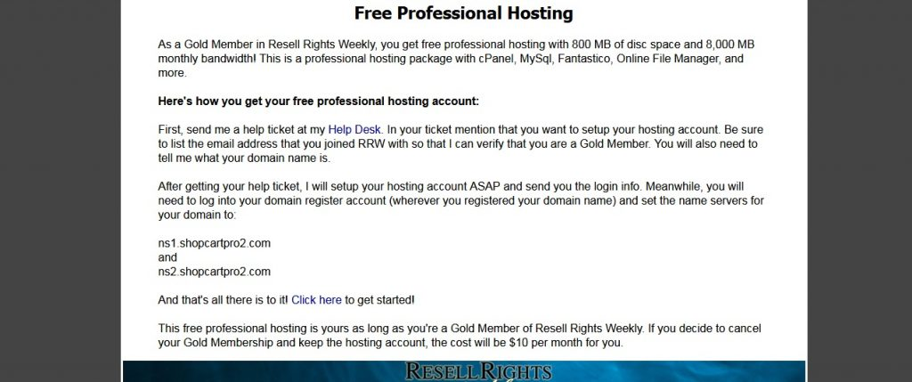 Resell Rights Weekly Free hosting