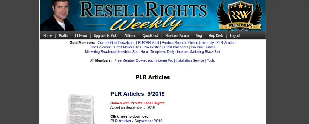 Resell Rights Weekly PLR Articles