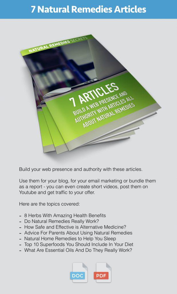 Natural Remedies Secrets PLR Content Pack Modules 4