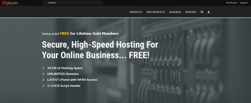 Free Website Hosting 10 gig hosting account for IDPLR gold members