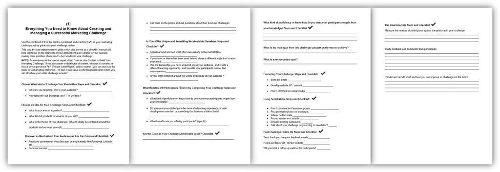 Roadmap to Using Challenges to Grow Your List and Revenue 1 Worksheet and Checklist