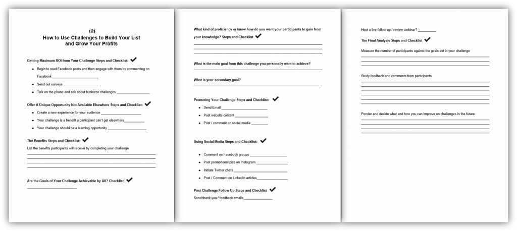 2 How to Use Challenges to Build Your List and Grow Your Profits Worksheet and Checklist
