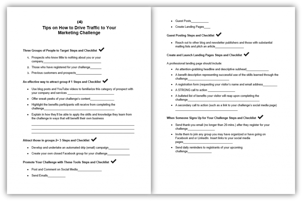 Roadmap to Using Challenges to Grow Your List and Revenue 4 Worksheet and Checklist
