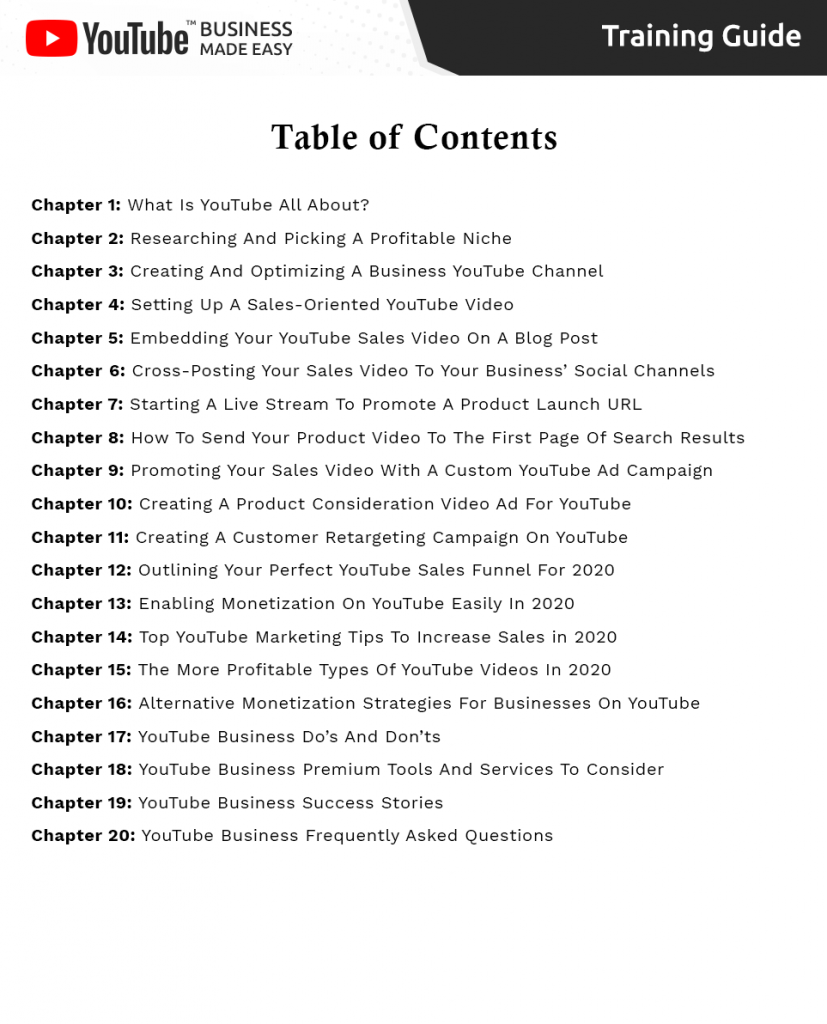 YouTube Business Table Content