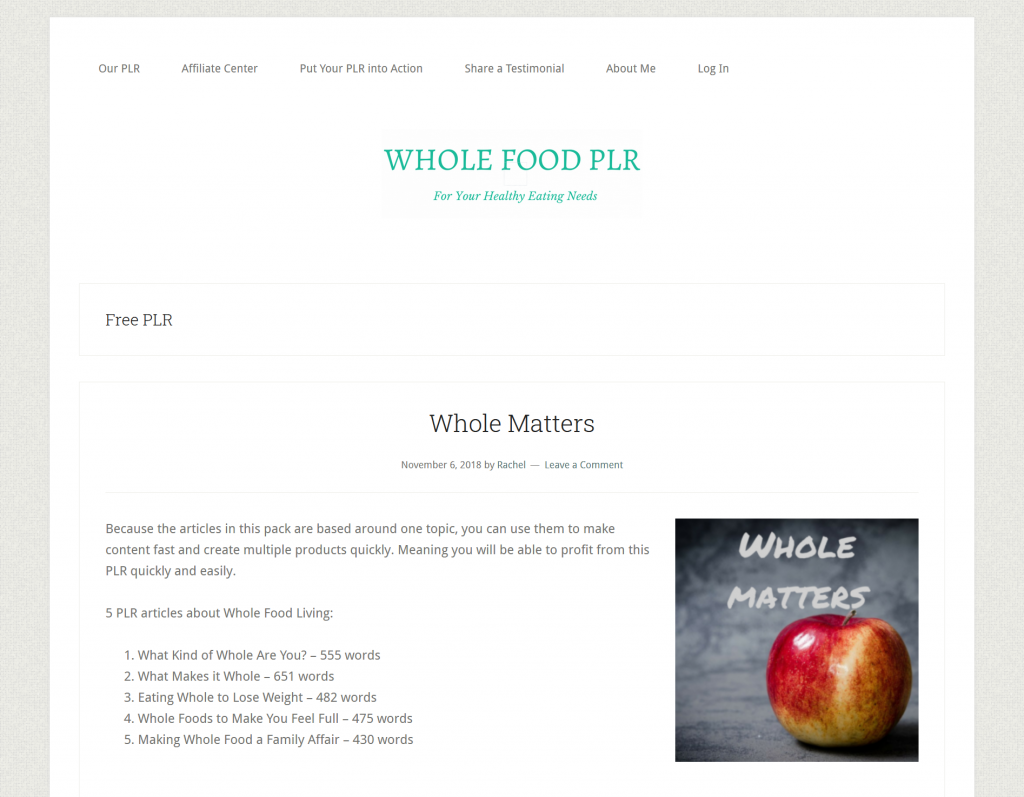 Free High Quality Food PLR Content by Whole Food PLR