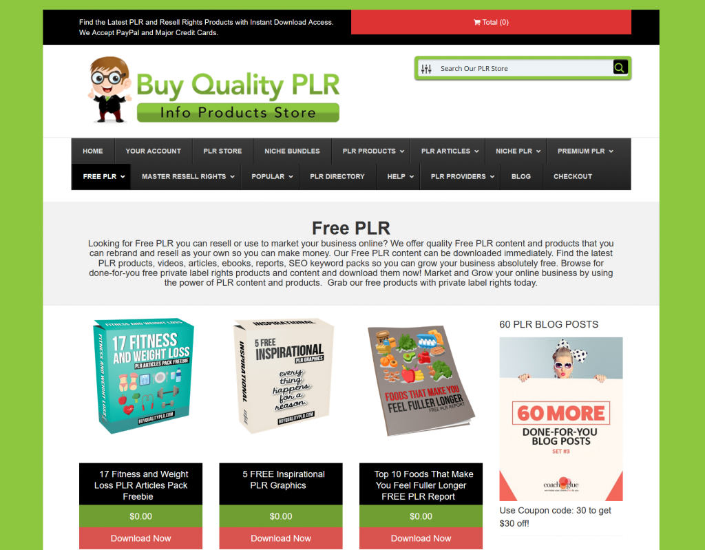 Free PLR Products from Buy Quality PLR