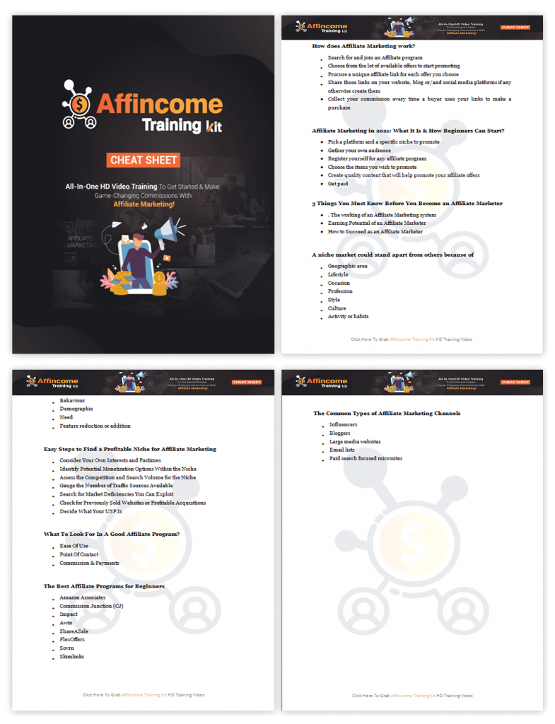 Affincome Training Kit Cheatsheet