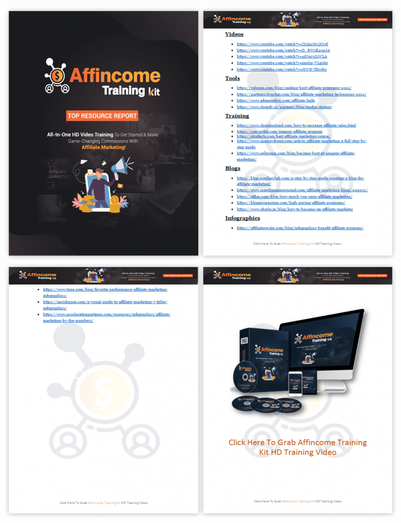 Affincome Training Kit Top Resource Report