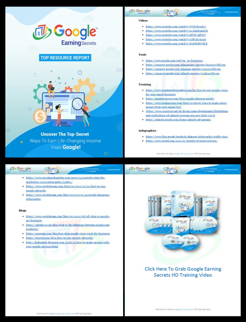 Google Earning Secrets Top Resource Report 2