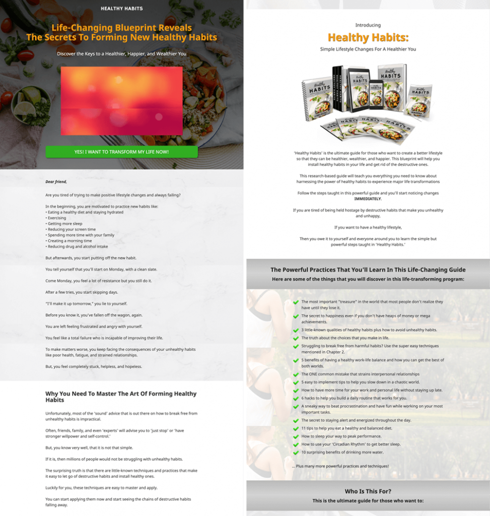 Healthy Habits High Converting Sales Page