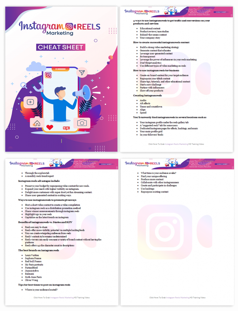 Instagram Reels Marketing Cheat Sheet