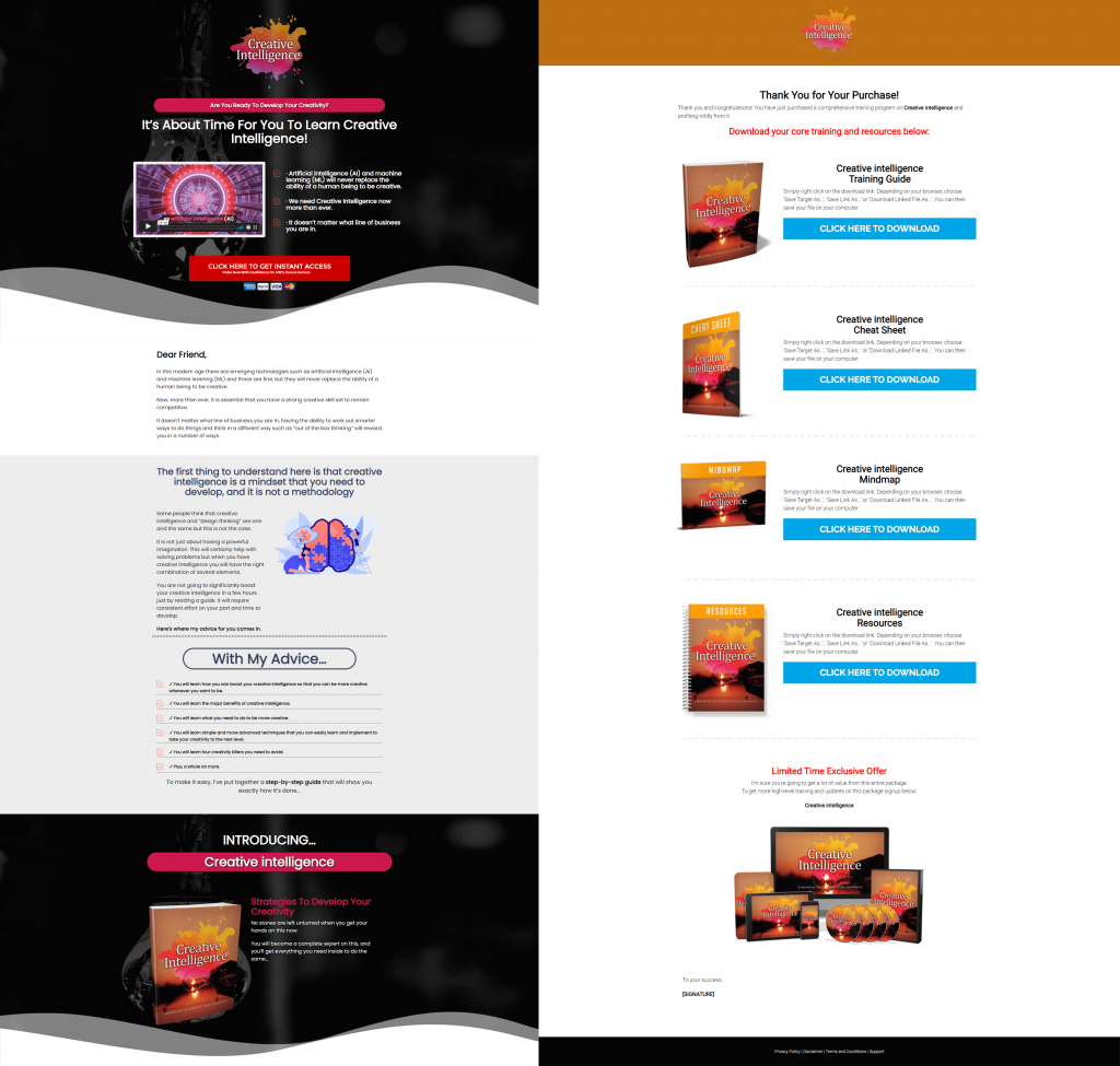 Creative Intelligence Ready Made Sales Letter Thank You Page
