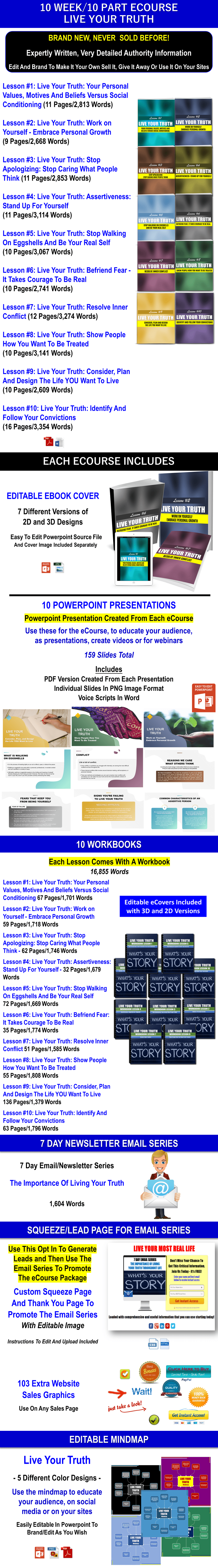 Live Your Truth 275 Piece PLR eCourse Package 1