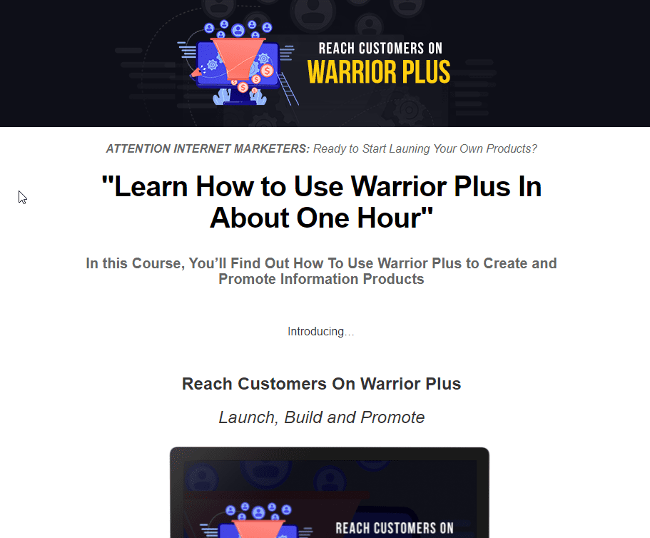 Warrior Plus Instructional Sales Page