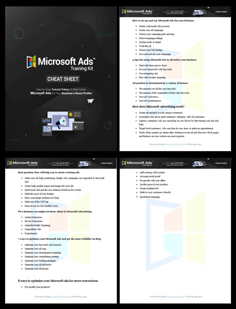 Microsoft Ads Training Kit Cheat Sheet 1